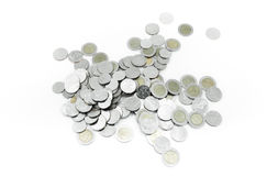 Coins on white background,Donation Investment Fund Financial Support Charity  Dividend Market Royalty Free Stock Photos