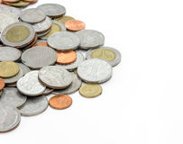 Coins on white background Royalty Free Stock Images