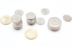 Coins on white background Royalty Free Stock Image