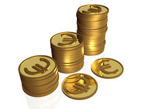 Coins on white. Business picture about analysis - coins on white as a graph Royalty Free Stock Photography
