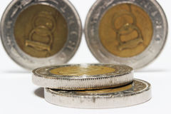 Coins on white Stock Photo