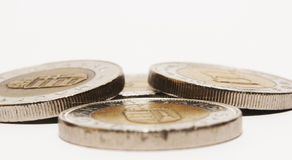 Coins on white. Some piece of hungarian coins are isolated on white Royalty Free Stock Images