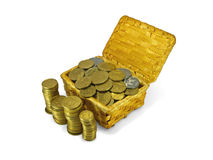 Coins in a wicker trunk. And in columns, isolated Stock Photography