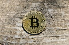 Coins on the Wood Background. Bitcoins Crypto currency. BTC Stock Photos