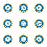 Coins of the world icons set, flat style. Coins of the world icons set. Flat set of 9 coins of the world vector icons for web isolated on white background Stock Images