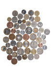 Coins of the world. Metal coins of different countries of the world Stock Photo