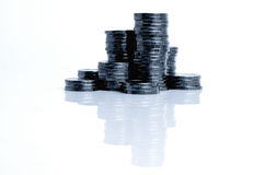Coins from yellow metal. Royalty Free Stock Photos