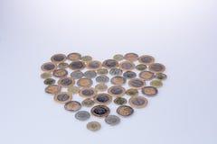 Coinsform de Lire turque une forme de coeur Photographie stock