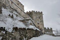 Coira城堡塔和雪1 库存照片