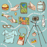 Coisas do ícone do curso e do turismo para viajar Imagem de Stock Royalty Free
