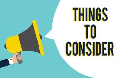 Coisas do texto da escrita da palavra a considerar O conceito do negócio para que a lista verifique ou fá-la a indicação s do sin ilustração do vetor