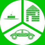 Coisas ecológicas feitas das folhas verdes ilustração royalty free