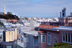 Coit Tower as view from Lombard Street in San Francisco - CA Royalty Free Stock Images