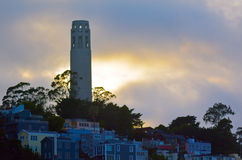 Coit Tower as view from Oakland Bay Bridge in San Francisco - CA Stock Photography