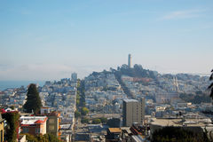 Coit Tower and City Skyline of San Francisco Royalty Free Stock Photo