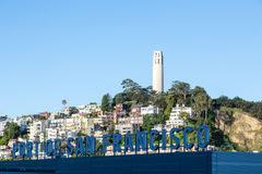 Coit Tower Near Port of San Francisco Stock Images