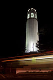 Coit Tower at Night. Headlights motion blur in front of San Francisco's Coit Tower Royalty Free Stock Photography