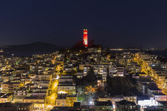 Coit Tower Night San Francisco Stock Image