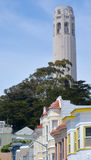 Coit Tower and old colourful buildings in San Francisco CA Stock Images