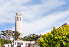 Coit Tower from residential area in San Francisco Royalty Free Stock Image
