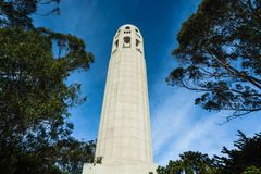 Coit Tower in San Francisco, California. San Francisco, California: Low angle view of the Coit Tower  on Telegraph Hill Royalty Free Stock Images