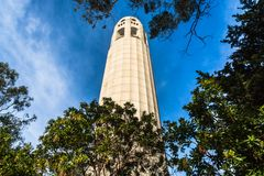 Coit Tower in San Francisco, California. San Francisco, California: Low angle view of the Coit Tower  on Telegraph Hill Stock Photography