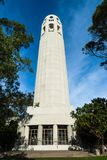 Coit Tower in San Francisco, California. San Francisco, California: Low angle view of the Coit Tower  on Telegraph Hill Royalty Free Stock Photo