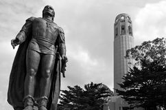 Coit Tower with statue of Columbus in San Francisco, CA Stock Photos