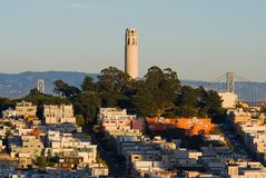Coit Tower at sunset Royalty Free Stock Image