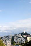 Coit Tower on Telegraph Hill. As seen from Lombard Street, San Francisco, California stock photo