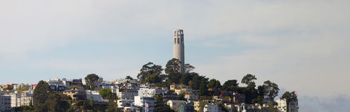 Coit Tower on Telegraph Hill Panorama Stock Photos