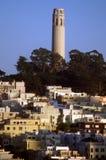 Coit Tower, Telegraph Hill San. Southwestern view of Coit Tower with part of Telegraph Hill in San Francisco, California Stock Photos
