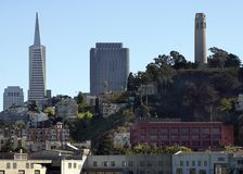 Coit Tower and TransAmercia. San Francisco Coit Tower and TransAmerica buildings Stock Image