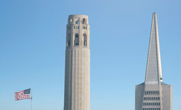Coit Tower and Transamerica Pyramid dominant San Francisco skyli Stock Image