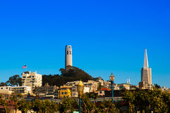 Coit tower and Transamerica Pyramid, San Francisco Stock Image