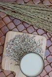 Coix lacryma-jobi, gotujący się w szkle na brown tle Zdjęcia Royalty Free