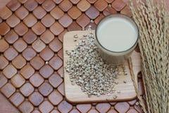 Coix lacryma-jobi som kokas i ett exponeringsglas på en brun bakgrund Royaltyfria Bilder