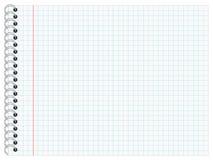 Cojín de escritura con las líneas a cuadros, formato de paisaje Foto de archivo