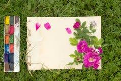 Cojín hecho a mano del dibujo con las flores y las hojas de la rosa salvaje, Fotos de archivo
