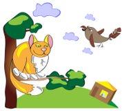 Coja el gato y el gorrión en un árbol Ejemplo divertido de un simpl Fotos de archivo