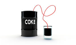 Coke in a black barrel Stock Photography