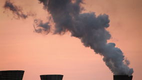 Coke and Chemicals plant Cooling towers morning silhouettes stock video