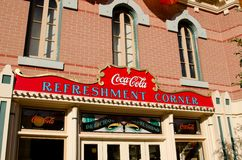 Coke Conrer. Oct 17, 2011: Anaheim,CA Disneyland park in Anaheim. An old looking building with the Coca-Cola sign on Main St USA at Disneyland Stock Photo