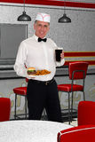 Coke delle fritture dell'hamburger dell'alimento servito dal retro scatto di soda Fotografia Stock Libera da Diritti