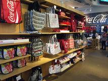 Coke themed bags at Coca-Cola gift shop. Royalty Free Stock Image