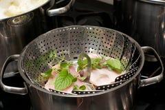 Cokizzazione del vapore della carne Immagine Stock Libera da Diritti
