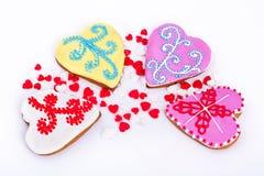 Cokkie пасхи Печенья пасхи пряника в форме сердца Белая предпосылка Стоковая Фотография RF