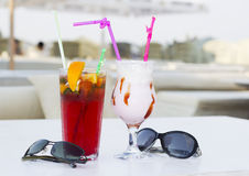 Coktails in the open air café Royalty Free Stock Photos