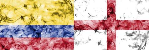 Colômbia contra a bandeira do fumo de Inglaterra, quartos de final, campeonato do mundo 2018 do futebol, Moscou, Rússia Ilustração Stock