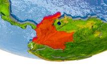 Colômbia no vermelho no modelo de terra Fotografia de Stock Royalty Free